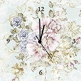 Artland Analoge Wand-Funk-oder Quarz-Uhr Digital-Druck Leinwand auf Holz-Rahmen gespannt mit Motiv tanginuk1205 Blumen mit nahtlosem Muster im Hintergrund Botanik Blumen Rose Malerei Pink/Rosa A7OV