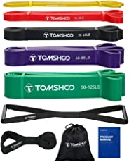 TOMSHOO 5 Packs Pull Up assist Bands Set Resistance Loop Bands Powerlifting Exercise Stretch Bands with Door anchor and Hand