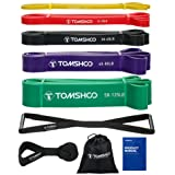 TOMSHOO Bande Élastique Musculation 5 Bandes de Résistance + 1 ancrage de Porte + 1 poignée, Latex Naturel Elastique de Sport