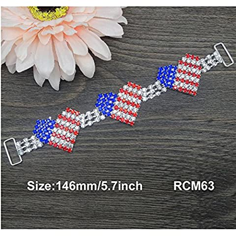 Nueva 5.7inch de julio de 4 º rojo / azul del conector diamantes de imitación de color blanco / corazón del bikini Conectores Conectores de cristal 10pcs