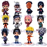 Naruto Cake Topper - 12pcs Naruto Mini Juego de Figuras,Acción Figuras Modelo Muñecas Mini Muñeca de Naruto,Niños Baby Shower