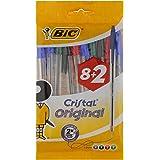 BIC Cristal Original Bolígrafos Punta Media (1,0 mm) – Colores Surtidos, Blíster de 8+2, para escritura suave, certificados c