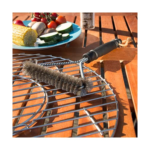 Bruzzzler Cepillo para Barbacoa con cerdas de Acero Inoxidable, 3 Lados para una Limpieza fácil, Negro, 28×16,8×3,6 cm, 200100001072