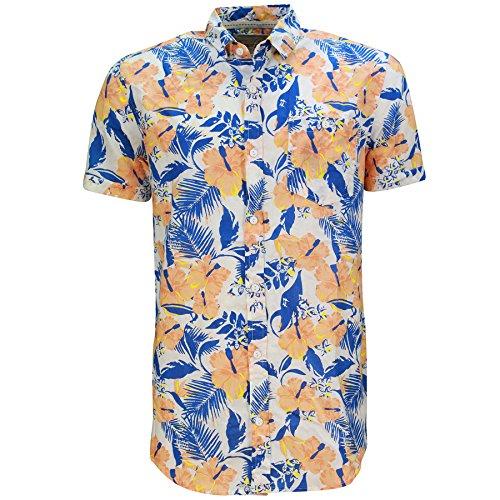 Uomo Hawaii Camicia Floreale By Soul Star Maniche Corte Arancione - GEMINIPKB