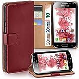 moex Samsung Galaxy Ace 2 | Hülle Dunkel-Rot mit Karten-Fach 360° Book Klapp-Hülle Handytasche Kunst-Leder Handyhülle für Samsung Galaxy Ace 2 Case Flip Cover Schutzhülle Tasche