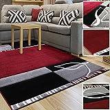 Alfombra de diseño moderno gris rojo Designer Salón Alfombra disponible en varias tallas, rojo, 200 x 290 cm