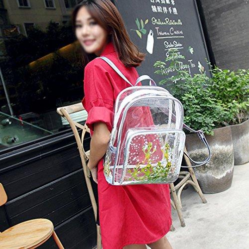 AiSi Damen Mädchen Laser transparent mini Rucksack Daypacks Wanderrucksack Schoolbag Schultasche mit modernem Design, durchsichtig 28cm x 13cm x 33cm, Silber transparent Silber transparent