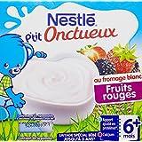 Nestlé Bébé P'tit Onctueux au Fromage Blanc Fruits Rouges dès 6 mois 4 x 100 g- Lot de 6 (24 coupelles)