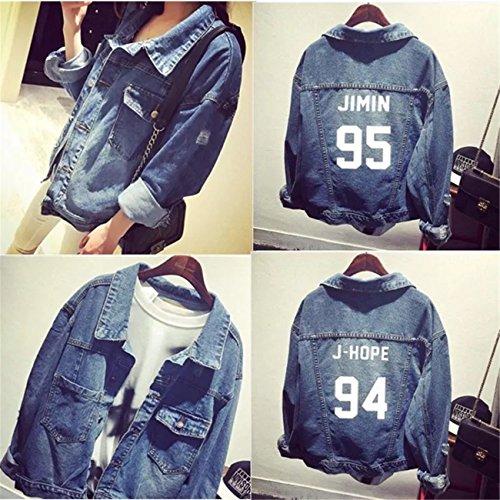 SERAPHY Unisex BTS Felpa con cappuccio BTS Giacca di jeans Suga Jin Jimin Jung Kook J-Hope Rap-Mostro V 93 SUGA