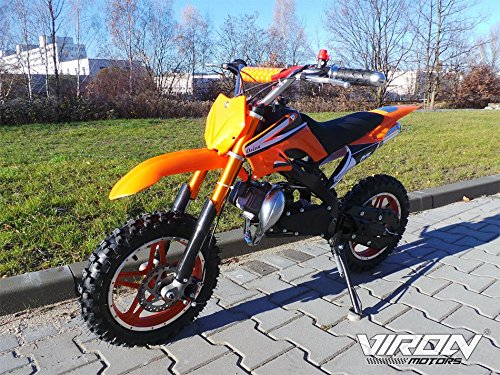 Preisvergleich Produktbild Dirt Bike 49cc - Enduro 10 Zoll Bereifung + Sportluftfilter & Sportauspuff + Aluminium Seilzugstarter 120 x 20 x 59 cm (LxBxH) Orange