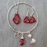 Hecho a mano en Hawái, collar de cristal de aretes de mar rojo rubí envuelto en alambre + aretes + conjunto de joyas,'Birthstone de julio', dije de flor de HIbiscus, perla de agua dulce