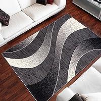 Tapiso Alfombra De Salón Moderna – Color Gris Oscuro Diseño Ondas – Varias Dimensiones S-XXXL 250 x 300 cm