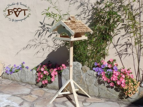Bird Feeder With Stand, Large, Btv Nesting Box X-voni5–ms-gefla002 Robust And Stable Premium Weatherproof Bird House Bird Nesting Box With 100% Combo Box For Birds With Waterproof Varnished Cover Bird Feeder With Stand, Winter Bird Feeder Futterschacht