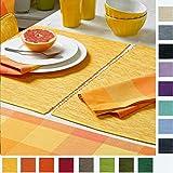 sander Tischläufer BREEZE Baumwolle Rips Melange Größe und Farbe wählbar (50x140cm, 03 - gelb)