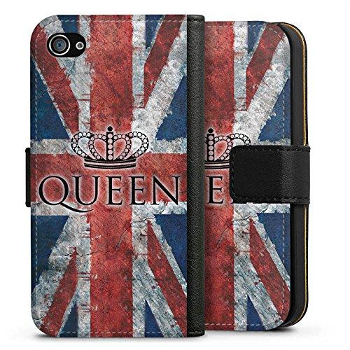 Apple iPhone X Silikon Hülle Case Schutzhülle Queen Großbritannien Flagge Union Jack Sideflip Tasche schwarz