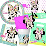Neu 101-tlg. Party-Set * Minnie Maus - Tropical * mit Teller + Becher + Servietten + Einladungen u.v.m. | Mouse Kinder Geburtstag Mottoparty Disney Deko