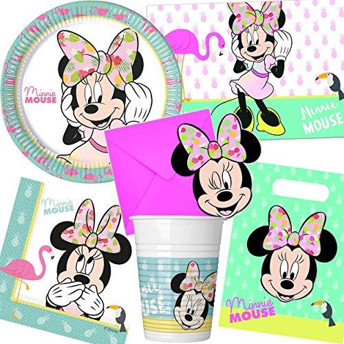 Neu 101-tlg. Party-Set * Minnie Maus - Tropical * mit Teller + Becher + Servietten + Einladungen u.v.m. | Mouse Kinder Geburtstag Mottoparty Disney Deko (Rosa Minnie Maus Geburtstag Einladungen)