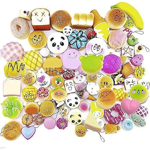 mini kawaii miniaturas kawaii 12 Piezas Kawaii llaveros emojis alimentos squishy, Cute Cartoon Face blanda simulación de alimentos panda pan Pastel bollos Regalo del juguete para mochilas, bolsos, teléfonos y demás (estilo aleatorio)