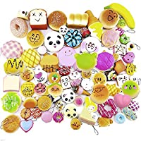 12 Pcs Kawaii Mini Squishy Soft Simulated Food Panda Bread Cake Buns Pendants Key Rings Keychains Phone Chain Straps Ornaments Accessories Random Style