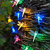 30er LED Solar Lichterkette Libelle bunt Lights4fun...