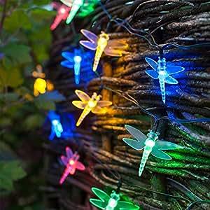 30 Multi Coloured LED Dragonfly Solar Garden Fairy Lights by Lights4fun