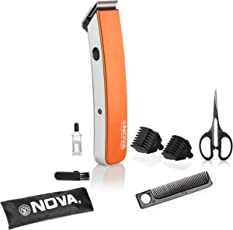 Nova NHT - 1047 Pro Skin Advance Rechargeable Cordless Beard Trimmer for Men(Orange)
