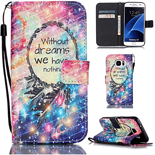 "Ooboom® iPhone 7 4.7"" Hülle Flip PU Leder Schutzhülle Handy Tasche Case Cover Wallet Standfunktion mit Kartenfächer Trageschlaufe - Eule Without Dreams We Have Nothing"