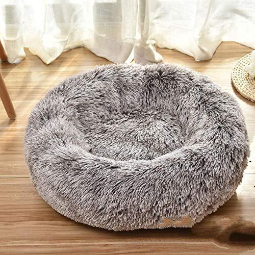 SHIYID Tiefer Schlaf runder Plüsch Zwinger Katzenstreu warmes Nest Katzenmatte Bett Kaffee Farbe 3kg