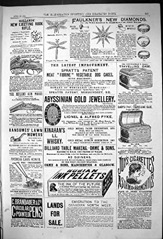 Antique Print of 1882 Advertisement Hollands Gun Faulkners Diamonds Jewellery