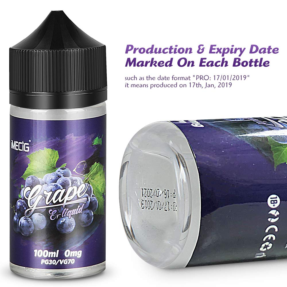 Vape Liquid, E Liquid, IMECIG Grape Vape Juice, 100ML Large Capacity, Vape  Oil with Child Lock, E Li