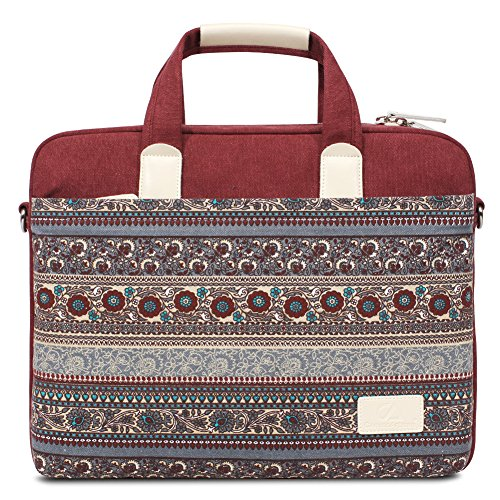 Feisman Bohème Stil Canvas Hülle Aktentasche Sleeve Tasche Laptoptasche für 15-15,6 Zoll Laptop / Notebook Computer / MacBook / MacBook Pro / MacBook Air -(Rot) (Design-damen-notebook-tasche)