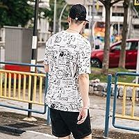 MN Camiseta de Manga Corta de Manga Corta Blanca con Cuello Redondo y Manga Corta Estampada de Tendencia Occidental,Blanco,L