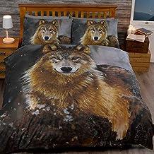 Just Contempo–Juego de funda nórdica de lobo moonilight, doble, algodón poliéster, marrón, matrimonio