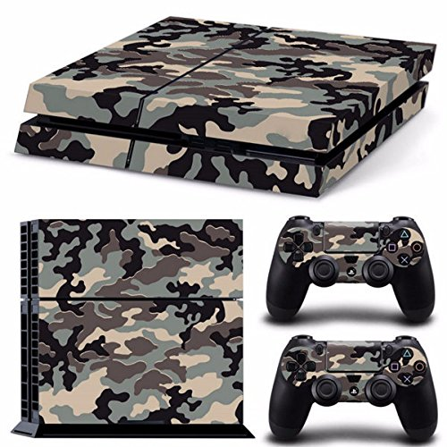 Saver-Camouflage-Muster-Haut-Aufkleber-fr-PS4-PlayStation-4-Console-2-Controller-Schutz-Haut