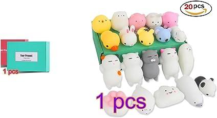 Hemore Mochi Squishy Spielzeug, langsam aufsteigende squishies Spielzeug 20 Stück Mini Mochi Tiere Stress Spielzeug Stress Relief Spielzeug für Kinder & Erwachsene