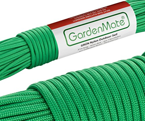 GardenMate Paracord 550 Professionelles Nylon Outdoor-Seil Grün 31m lang 4mm dick - Kernmantel-Seil aus 7 Kernfäden aus reißfestem Nylon -