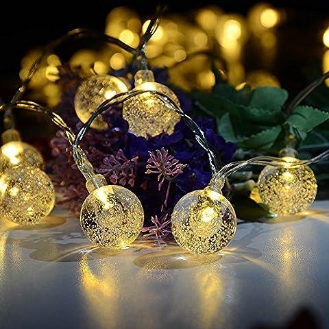 Deallink 40 luci leggiadramente della stringa LED a batteria con / Bulbi sfera di cristallo per la Camera dell'interno, il giardino esterno, Prato, Party, Matrimonio, Decorazione natalizia / bianco caldo