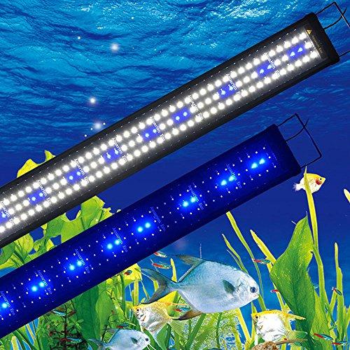 Aquarien ECO aquaiurm Lumiere Lumiere Blanc Bleu Aquarium Lampe a Clip 120cm Overhead Light Aquarium LED Lampe 2phases de Commutation Plug Power EU Extensible da156 [Classe énergétique A++]