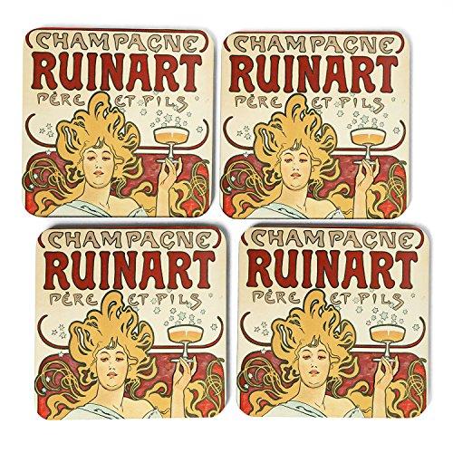 set-of-4-square-coasters-9-x-9-cm-free-postage-alphonse-mucha-champagne-ruinart