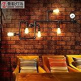 Lampada da Parete da Parete LED Stile ModernoRetro industriale creativo tubo di acqua parete ristorante lampadario balcone bar tavolo soppalco in ferro battuto decorativo lampada 90 * 36 cm, nero