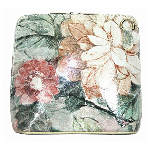 Vera Pelle Italiana Piccolo Croce Corpo Borsa o borsa a tracolla Purple Small Vintage Floral