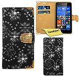 Microsoft Lumia 535 Hülle, FoneExpert® Bling Luxus Diamant Hülle Wallet Case Cover Hüllen Etui Ledertasche Premium Lederhülle Schutzhülle für Microsoft Lumia 535 + Displayschutzfolie (Schwarz)
