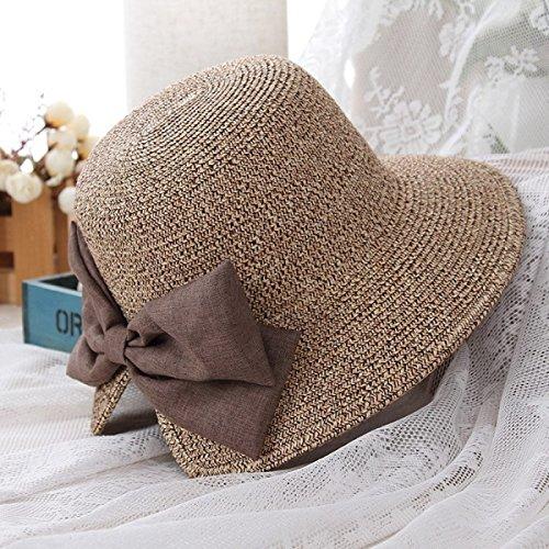 Chapeau Femme été Chapeau Coréen Arc Chapeau Anti-Sai Voyage Chapeau De Soleil Chapeau De Plage Bord De Mer Kaki