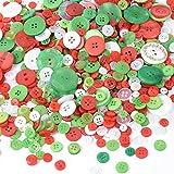 BUONDAC 300g Bottoni Colorati Natalizi Decorativi Rotondi in Resina Plastica Colori Misti Assortiti per Decorazione di Natale Cucito Fai da Te Craft