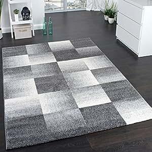 designer carpet modern home rug checkered squares in grey size 67x120 cm kitchen. Black Bedroom Furniture Sets. Home Design Ideas