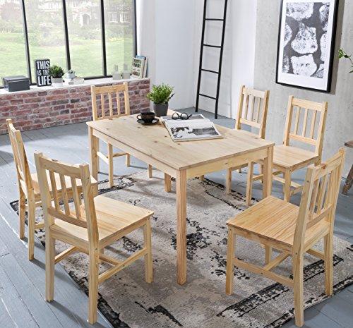 Holz Esszimmer-set (FineBuy Esszimmer-Set EMILIO 7 teilig Kiefer-Holz Landhaus-Stil 120 x 73 x 70 cm | Natur Essgruppe 1 Tisch 6 Stühle | Tischgruppe Esstischset 6 Personen | Esszimmergarnitur massiv)