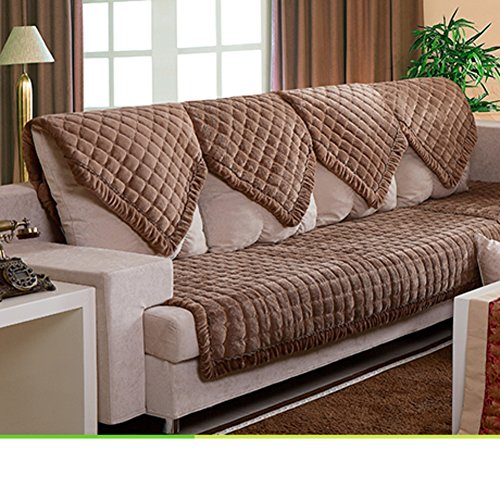 Se7ven inverno imbottito cuscini morbidi divano cuscino sedile in tessuto asciugamano di divano in pelle antiscivolo-e 90x260cm(35x102inch)