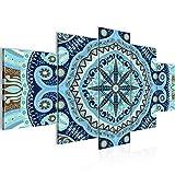 Bilder Mandala Abstrakt Wandbild 200 x 100 cm Vlies - Leinwand Bild XXL Format Wandbilder Wohnzimmer Wohnung Deko Kunstdrucke Blau 5 Teilig -100% MADE IN GERMANY - Fertig zum Aufhängen 506751b