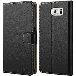 HOOMIL Coque Samsung S6, Housse en Cuir Premium Flip Case Portefeuille Etui Coque pour Samsung Galaxy S6 (H3002, Noir)