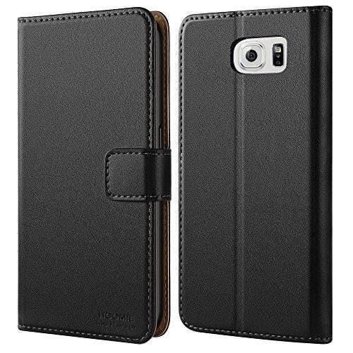 Galaxy S6 Hülle, HOOMIL Handyhülle Samsung Galaxy S6 / S6 Duos Tasche Leder Flip Case Brieftasche Etui Schutzhülle für Samsung S6 Cover - Schwarz (H3002) (Smartphone Leder Etui)